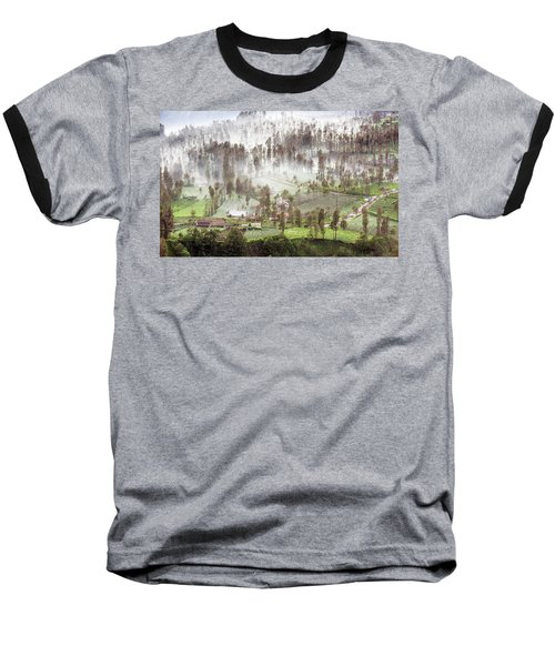 Village Covered With Mist Baseball T-Shirt
