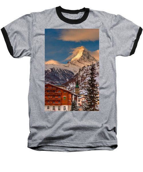 Village Of Zermatt With Matterhorn Baseball T-Shirt