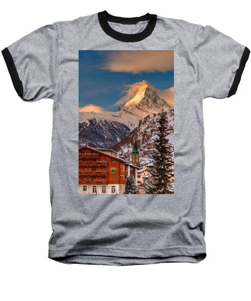 Village Of Zermatt With Matterhorn Baseball T-Shirt