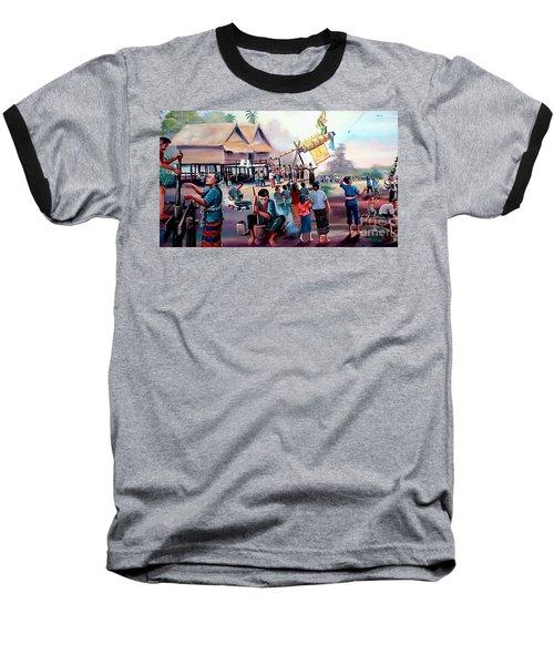 Village Rocket Festival-vintage Painting Baseball T-Shirt by Ian Gledhill