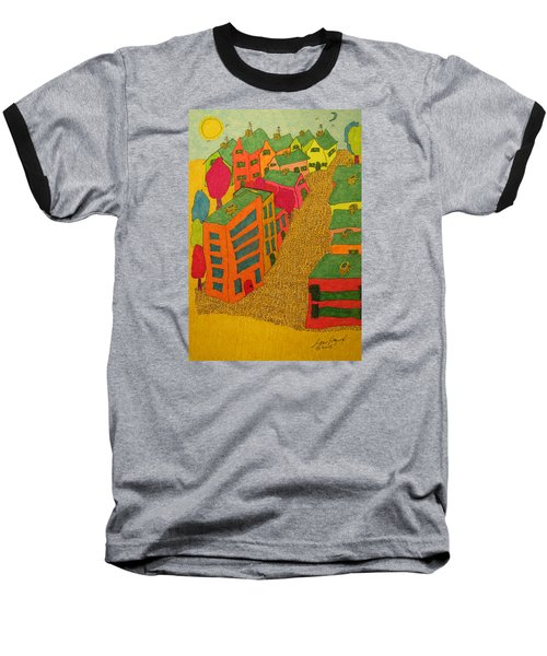 Village With Blue Sliver Moon Baseball T-Shirt