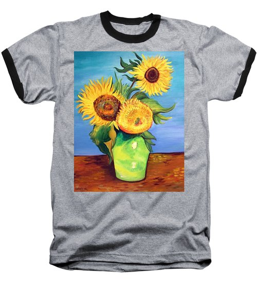 Vincent's Sunflowers Baseball T-Shirt by Patricia Piffath