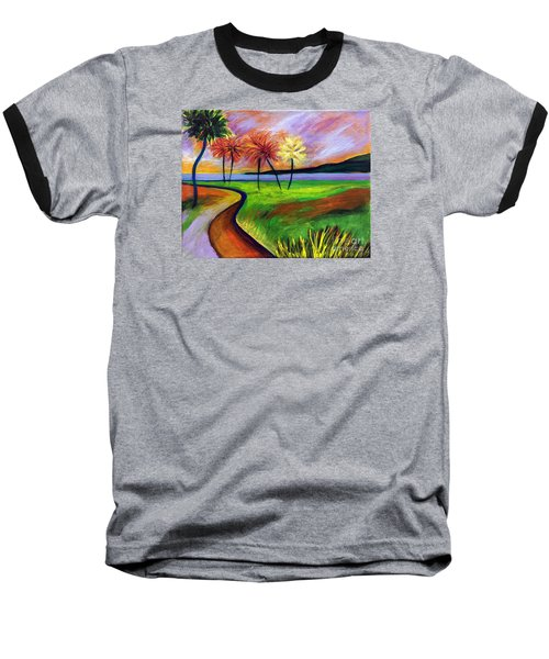 Baseball T-Shirt featuring the painting Vinoy Park In Purple by Elizabeth Fontaine-Barr