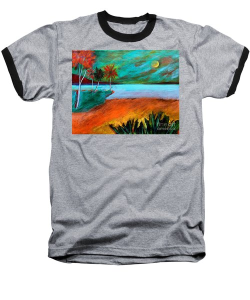 Baseball T-Shirt featuring the painting Vinoy Park Twilight by Elizabeth Fontaine-Barr