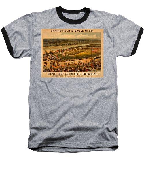 Vintage 1883 Springfield Bicycle Club Poster Baseball T-Shirt by John Stephens