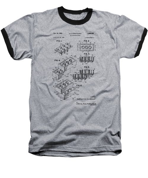 Baseball T-Shirt featuring the drawing Vintage 1961 Toy Building Brick Patent Art by Nikki Marie Smith