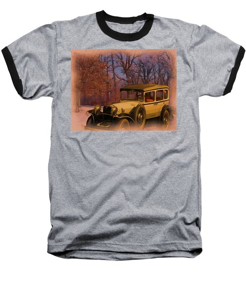 Vintage Auto In Winter Baseball T-Shirt