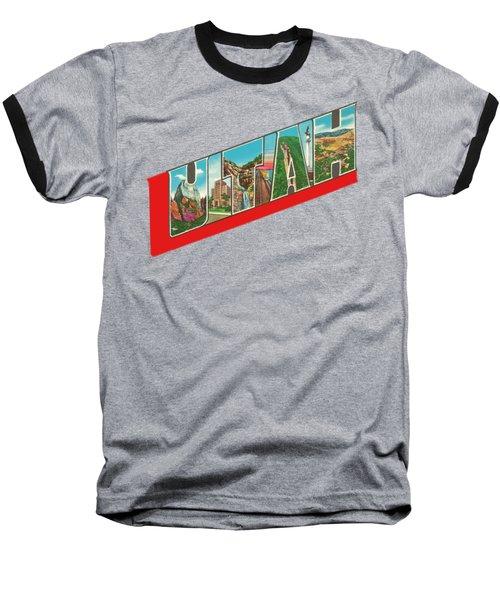 Vintage Big Letters Utah State Souvenir Baseball T-Shirt