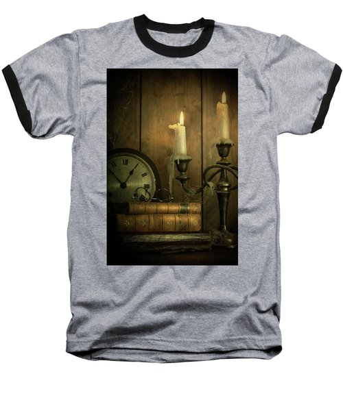 Vintage Books With Candles And An Old Clock Baseball T-Shirt