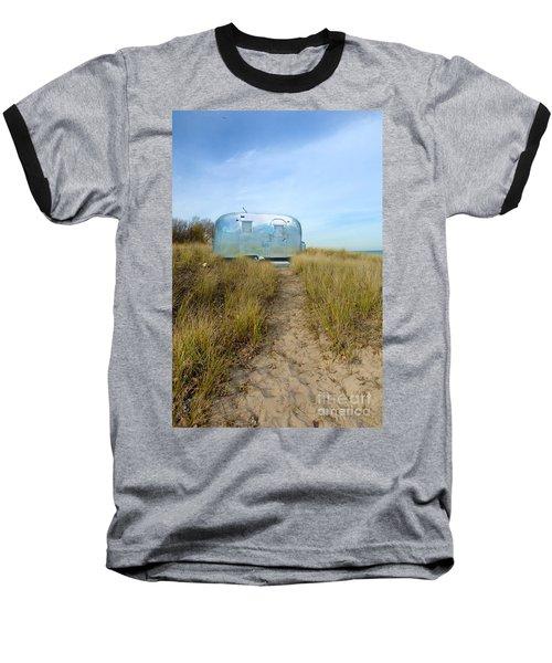 Vintage Camping Trailer Near The Sea Baseball T-Shirt