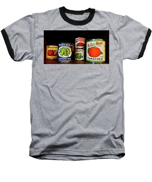 Vintage Canned Vegetables Baseball T-Shirt by Joan Reese