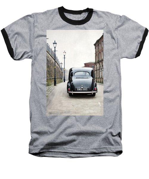 Vintage Car On A Cobbled Street Baseball T-Shirt by Lee Avison