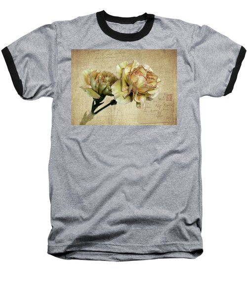 Vintage Carnations Baseball T-Shirt by Judy Vincent