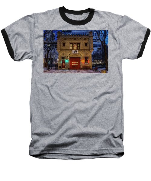 Vintage Chicago Firehouse With Xmas Lights And W Flag Baseball T-Shirt