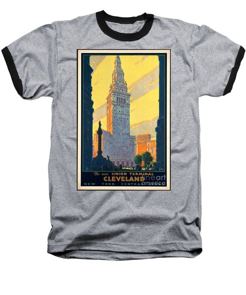 Vintage Cleveland Travel Poster Baseball T-Shirt by George Pedro
