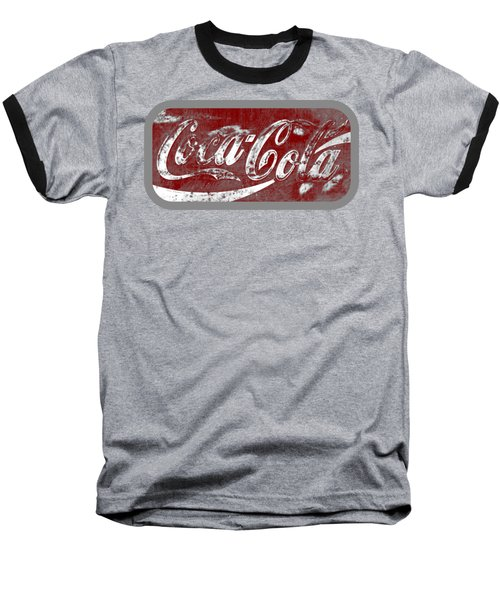 Coca Cola Red And White Sign Gray Border With Transparent Background Baseball T-Shirt