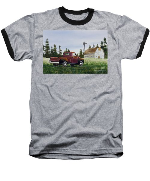 Baseball T-Shirt featuring the painting Vintage Country Pickup by James Williamson
