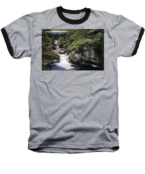Baseball T-Shirt featuring the photograph Vintage Covered Bridge And Waterfall by Jason Moynihan