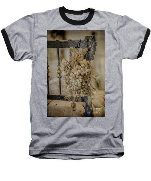 Vintage Floral Swag On A Bedpost Baseball T-Shirt