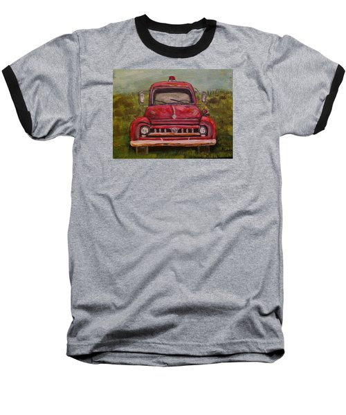 Vintage  Ford Fire Truck Baseball T-Shirt by Belinda Lawson