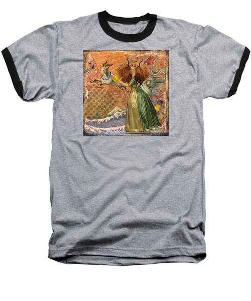 Vintage Golden Woman Capricorn Gothic Whimsical Collage Baseball T-Shirt by Mary Hubley