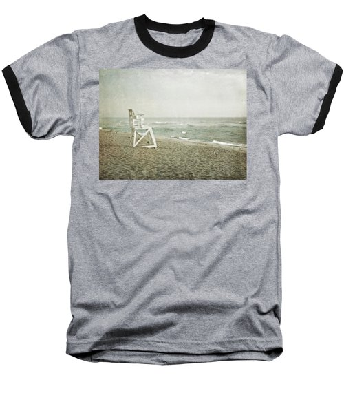 Vintage Inspired Beach With Lifeguard Chair Baseball T-Shirt by Brooke T Ryan