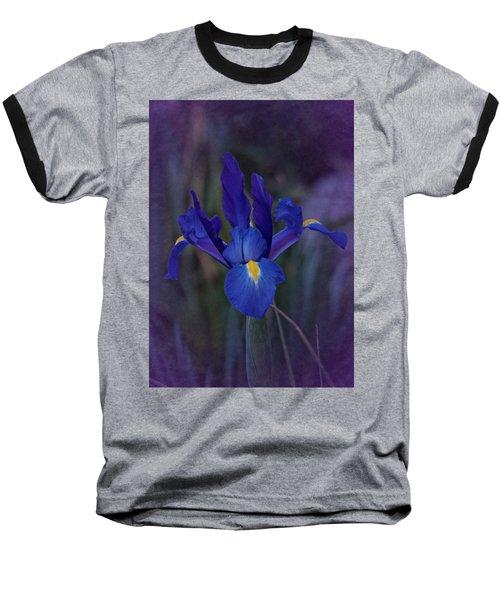 Vintage Blue Magic Iris Baseball T-Shirt by Richard Cummings