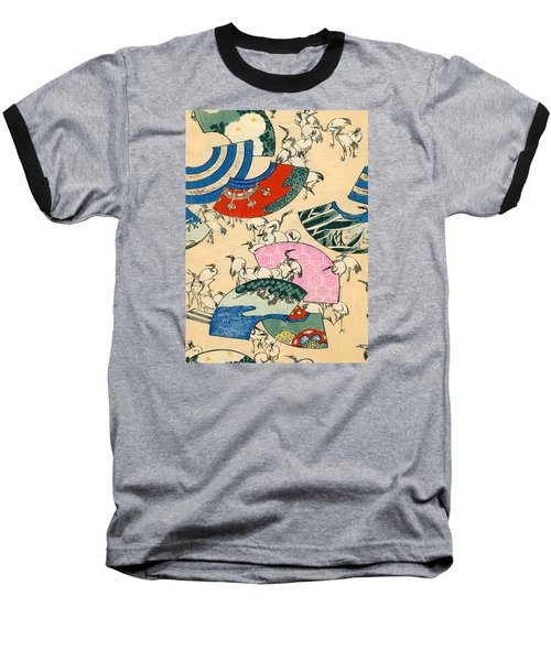 Vintage Japanese Illustration Of Fans And Cranes Baseball T-Shirt