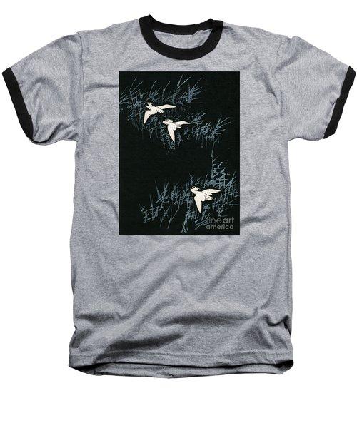Vintage Japanese Illustration Of Three Cranes Flying In A Night Landscape Baseball T-Shirt