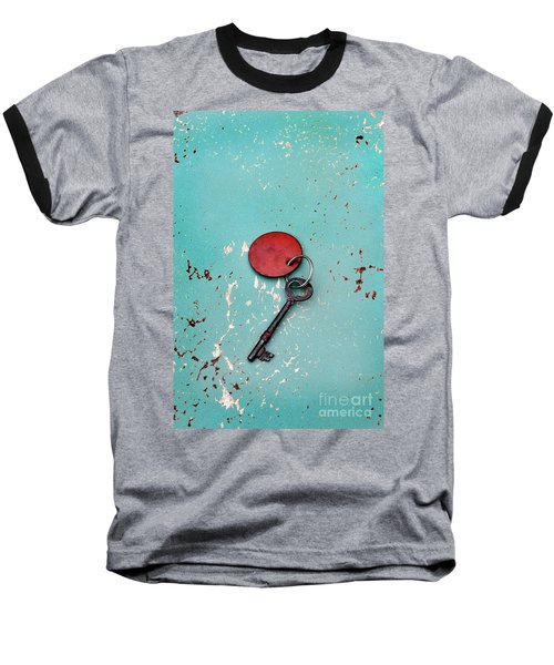 Baseball T-Shirt featuring the photograph Vintage Key With Red Tag by Jill Battaglia