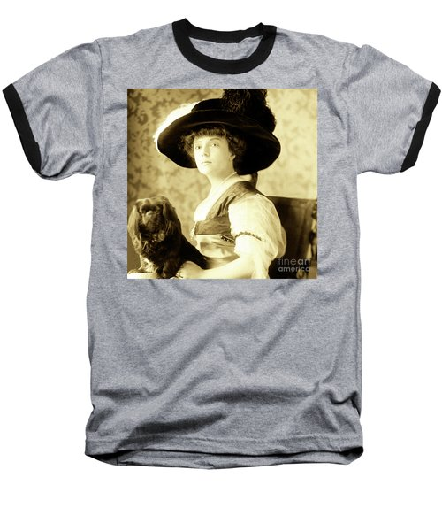 Vintage Lady With Lapdog Baseball T-Shirt