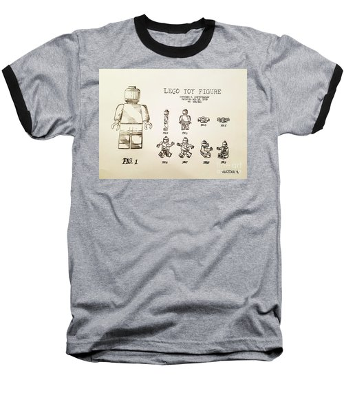Vintage Lego Toy Figure Patent - Graphite Pencil Sketch Baseball T-Shirt