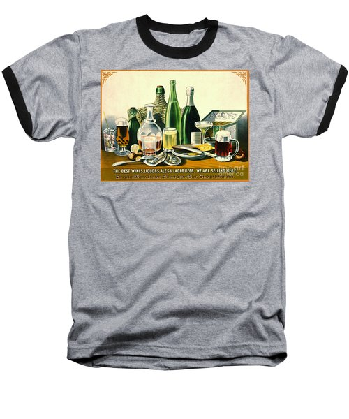 Vintage Liquor Ad 1871 Baseball T-Shirt by Padre Art