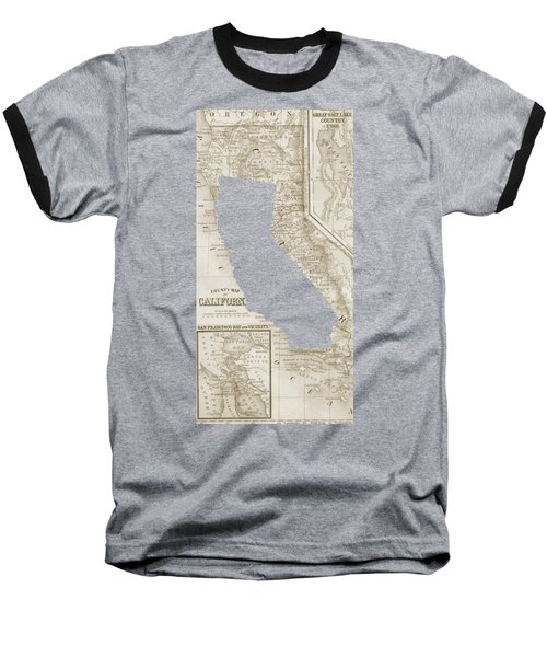 Baseball T-Shirt featuring the drawing Vintage Map Of California Phone Case by Edward Fielding