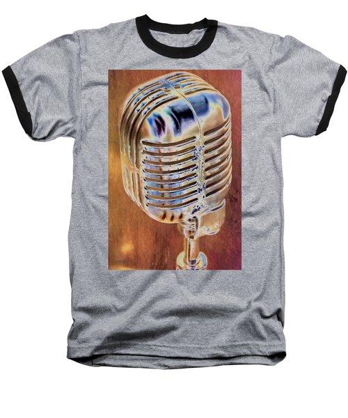Vintage Microphone Baseball T-Shirt by Pamela Williams