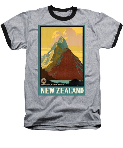 Vintage New Zealand Travel Poster Baseball T-Shirt by George Pedro