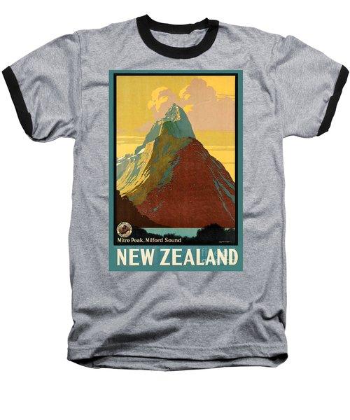 Vintage New Zealand Travel Poster Baseball T-Shirt