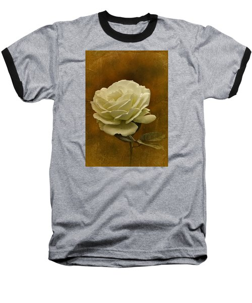 Vintage November White Rose Baseball T-Shirt by Richard Cummings