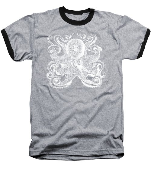Baseball T-Shirt featuring the digital art Vintage Octopus Illustration by Edward Fielding