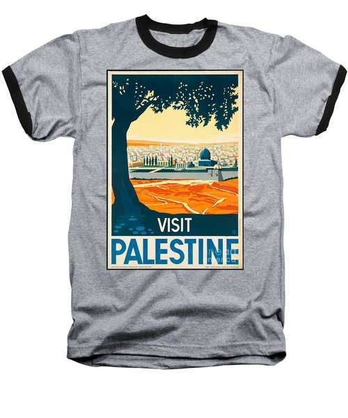 Vintage Palestine Travel Poster Baseball T-Shirt by George Pedro