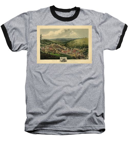 Baseball T-Shirt featuring the photograph Vintage Pottsville Pennsylvania Etching With Remarque by John Stephens