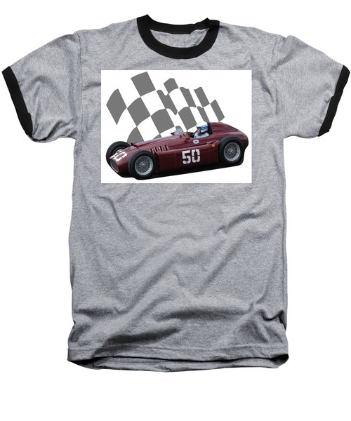 Vintage Racing Car And Flag 1 Baseball T-Shirt