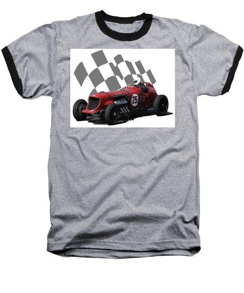 Vintage Racing Car And Flag 3 Baseball T-Shirt