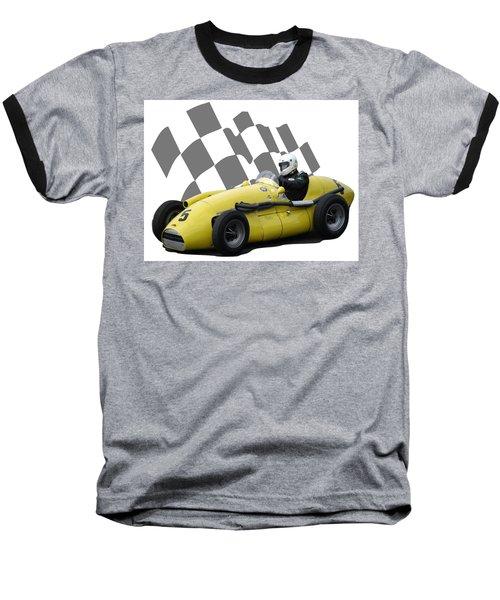Vintage Racing Car And Flag 4 Baseball T-Shirt