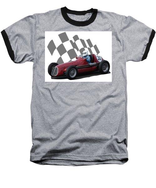 Vintage Racing Car And Flag 6 Baseball T-Shirt