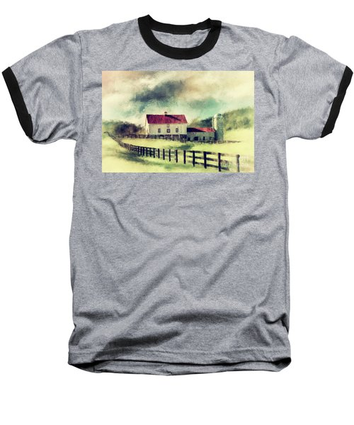 Baseball T-Shirt featuring the digital art Vintage Red Roof Barn by Lois Bryan