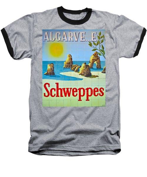 Vintage Schweppes Algarve Mosaic Baseball T-Shirt
