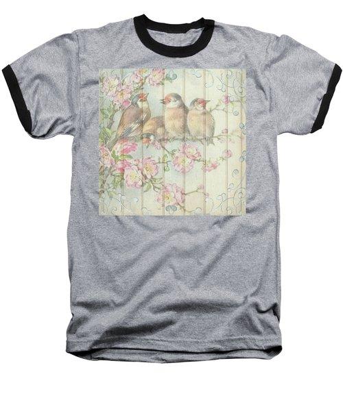 Vintage Shabby Chic Floral Faded Birds Design Baseball T-Shirt