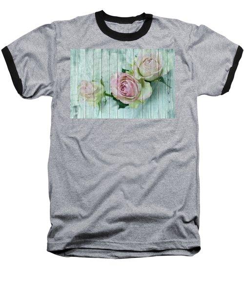 Vintage Shabby Chic Pink Roses On Wood Baseball T-Shirt