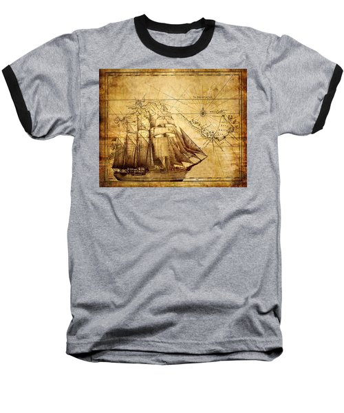 Vintage Ship Map Baseball T-Shirt